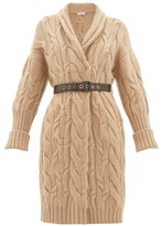Brunello Cucinelli Long-line Cable-knit Cashmere Cardigan - Womens - Light Brown