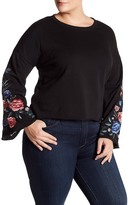 Planet Gold Embroidered Bell Sleeve Fleece Sweater (Plus Size)