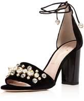 Kate Spade Iverna Embellished Velvet Lace Up High Heel Sandals