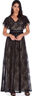 Adrianna Papell Black Gold Metallic Lace Maxi Dress