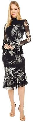 Fuzzi Jungle Mock Neck Midi Dress (Nero) Women's Clothing