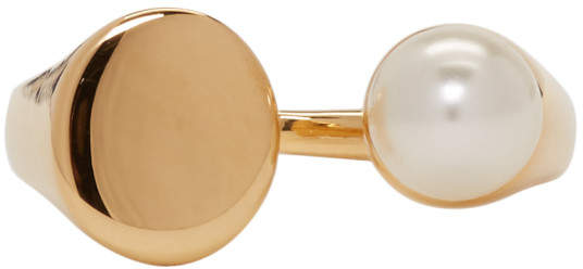 Chloé Gold and Pearl Small Darcey Ring