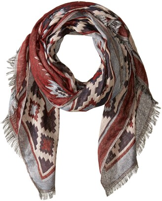 Tickled Pink Women's Cozy Aztec Tapestry Long Scarf with Fringe for All Seasons