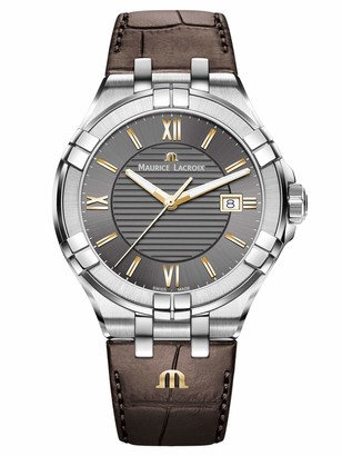 Maurice Lacroix Men's Aikon Stainless Steel Swiss Quartz Watch with Leather Strap