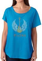 LOS ANGELES POP ART Los Angeles Pop Art Women's Loose Fit Dolman Cut Word Art Shirt - LYRICS TO FREEBIRD