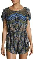 Free People Printed Button-Front Romper