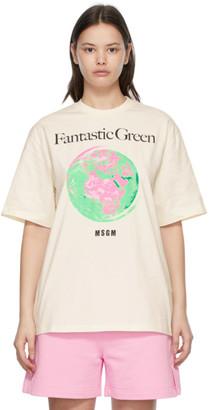 MSGM Off-White Fantastic Green T-Shirt