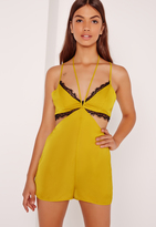 Missguided Silky Harness Detail Black Trim Romper Chartreuse Green