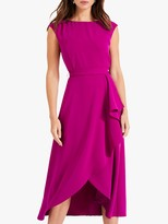 Phase Eight Rushelle Frill Dress, Bright Plum