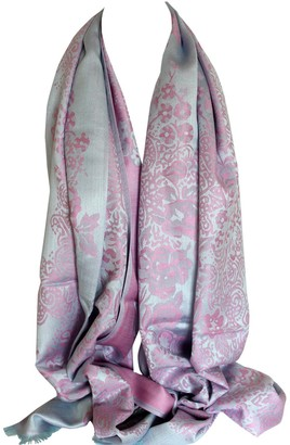Bullahshah Floral Bordered Two Sided Reversible Print Soft Pashmina Feel Wrap Shawl Scarf Head Scarves (Grey & Pink)
