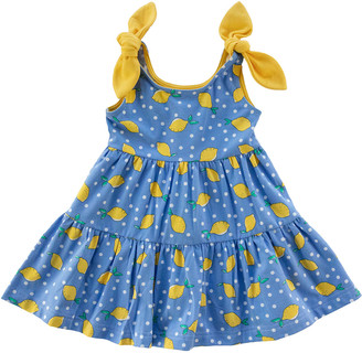 Florence Eiseman Girl's Polka-Dot Lemon Tiered Dress, size 12-24M