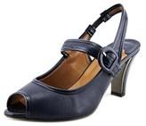 J. Renee Nevern Women Peep-toe Patent Leather Blue Slingback Heel.