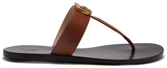 Gucci GG Marmont T-bar Leather Sandals - Tan