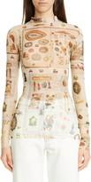 Monse Victorian Print Body-Con Sheer Top