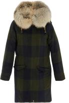 Post Card Checkered Midi Coat with Fur Hood
