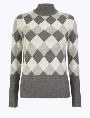 Marks and Spencer Diamond Argyle Fitted Jumper