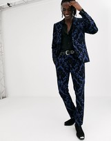 Twisted Tailor super skinny suit pants in blue baroque flocking