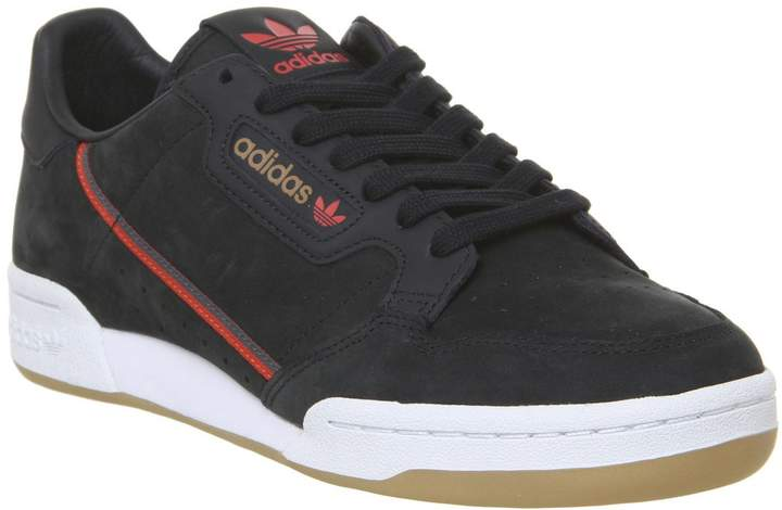 Adidas Continental 80S Trainers Core Black Red Grey Gum Tfl ...