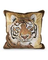 "Jay Strongwater Tiger Pillow, 18""Sq."