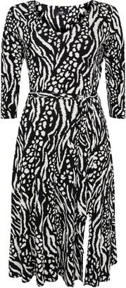 Wallis Black Animal Print Split Front Midi Dress