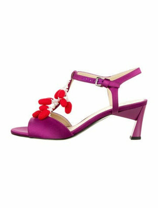 Marni Satin Buckle Sandals Purple