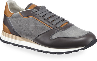 Brunello Cucinelli Men's Suede & Leather Athletic Sneakers