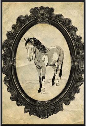 Jonathan Bass Studio Framed Paint Horse, Decorative Framed Hand Embellished Canvas