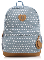 George Love Heart Print Faux Suede Panel Rucksack