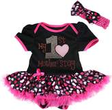 Petitebella My 1st Mother's Day Baby Dress Black Cotton Bodysuit Hearts Dots Tutu Nb-18m (3-6 Months)