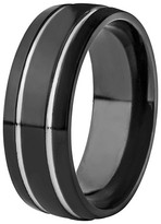 Ring Black West Coast Jewelry Men's Titanium Plated Grooved Ring - Black (8mm)
