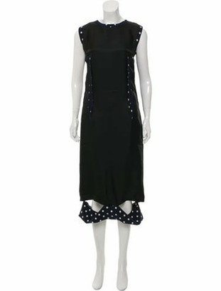 Maison Margiela Printed Wool Midi Dress w/ Tags Black
