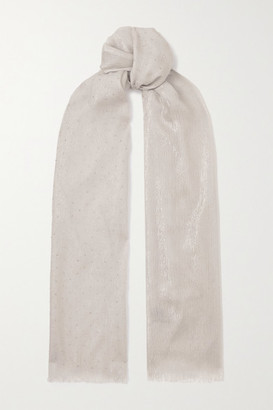 Loro Piana Crystal-embellished Cashmere-blend Scarf - White