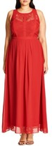 City Chic Plus Size Women's Paneled Lace Bodice Gown