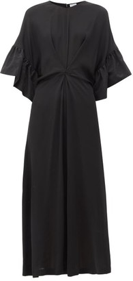 Loewe Ruffled Faille-trim Crepe Dress - Black