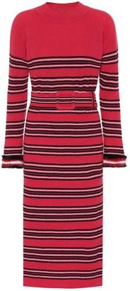 Fendi Striped wool and cashmere dress