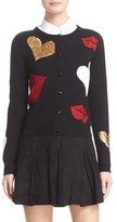 Alice + Olivia Women's Maude Embellished Lips & Hearts Cardigan