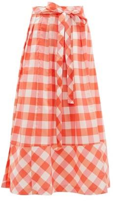Thierry Colson Java Gingham Midi Skirt - Pink Multi