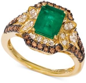 LeVian Le Vian Costa Smeralda Emerald (1-1/5 ct. t.w.) & Diamond (3/4 ct. t.w.) Ring set in 14k Gold