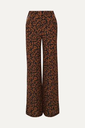 Nicholas Leopard-print Silk Crepe De Chine Wide-leg Pants - Brown