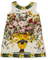 Dolce & Gabbana Floral Vase Print Jersey Dress, Size 8-12