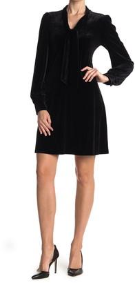 Calvin Klein Velvet Tie Neck Long Sleeve Shift Dress