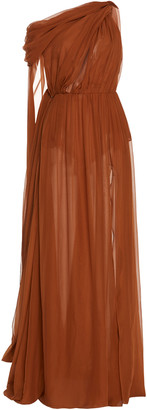 Dundas Draped One-Shoulder Chiffon Maxi Dress