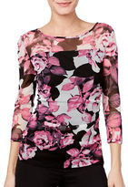 I.N.C International Concepts Petite Scoop Sheer Floral Top