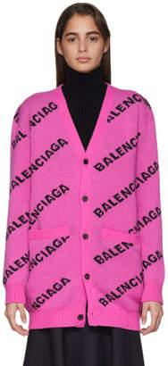 Balenciaga Pink All Over Logo Cardigan