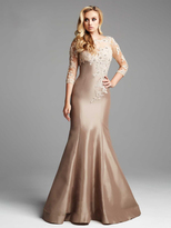 Mac Duggal Couture - 62315 Illusion Quarter Sleeve Trumpet Gown