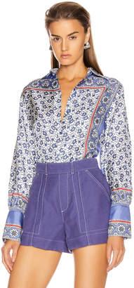 Chloé Bandana Print Blouse in Blue & White | FWRD