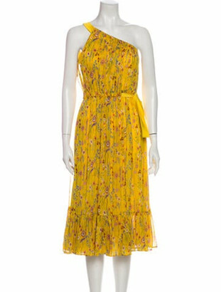 Alexis Floral Print Midi Length Dress w/ Tags Yellow