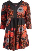 Aller Simplement Brown & Red Floral V-Neck Empire-Waist Dress - Plus Too