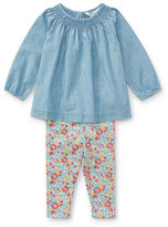 Ralph Lauren Long-Sleeve Chambray Top w/ Floral Leggings, Size 9-24 Months