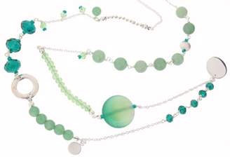 Earth Sterling 80cm Long Mixed Necklace with Green Aventurine Beads, Silver